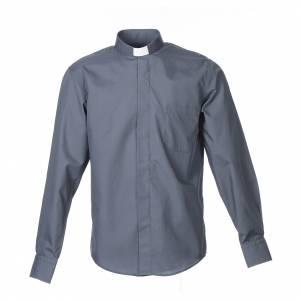 Camisas Clergyman: Camisa clergy sacerdote manga larga mixto algodón gris oscuro