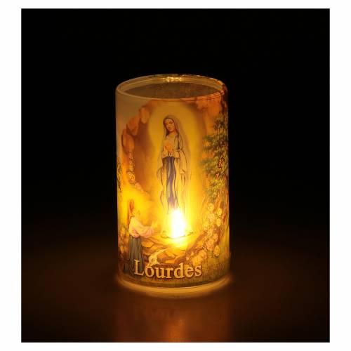 Candela a batteria con Madonna di Lourdes con finta candela interna s3