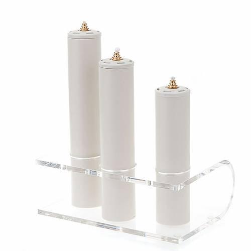 Candeliere plexiglass trasparente tre posti s1