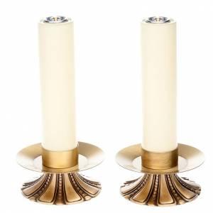 Candelieri metallo: Candelieri altare petali ottone