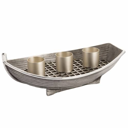 Candlestick, boat shaped in silver plated bronze, 3 flames s1