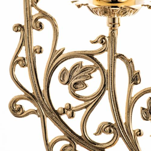 Candlestick in cast brass with 5 flames, baroque style s2
