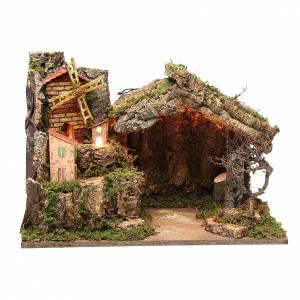 Capanne Presepe e Grotte: Capanna illuminata presepe 37x26x50 cm con mulino vento borgo