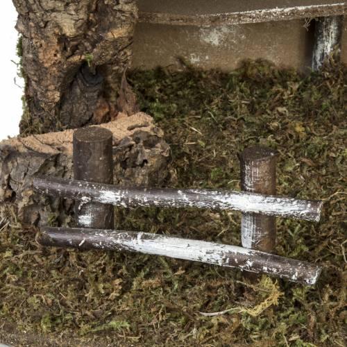 Capanna presepe semplice sughero e muschio 38x58x34 cm s2