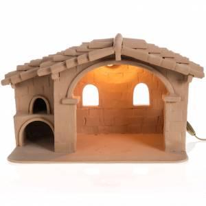 Presepe Terracotta Deruta: Capanna presepe terracotta illuminata Deruta