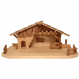 Capanna stile baita presepe Valgardena legno multipatinato s1