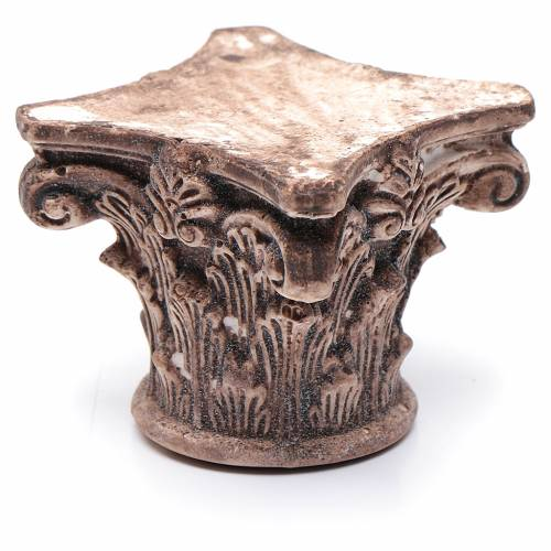 Capitello corinzio antico resina 5x5x5 cm presepe fai da te s2
