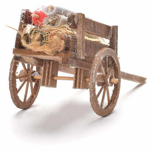 Cart with fabrics, Neapolitan Nativity 12x20x8cm s3