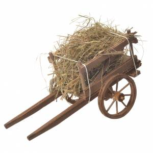 Cart with hay, Neapolitan nativity 18x6cm s1