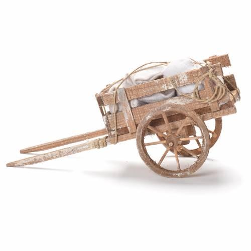 Cart with sacks, Neapolitan Nativity 12x20x8cm s2