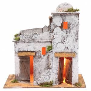 Presepe Napoletano: Casa araba 35x35x20 cm luce e porte di legno