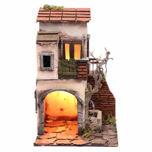 Casa con fontana ambientazione per presepe 30x20x20 s1