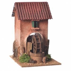 Mulini per Presepi: Casa con mulino ad acqua presepe 23x15x20 cm