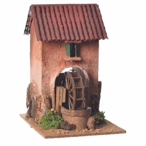 Casa con mulino ad acqua presepe 23x15x20 cm s1