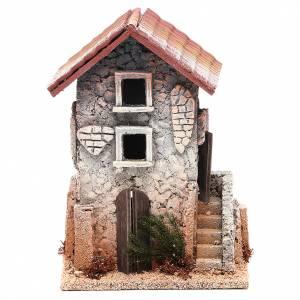 Ambientazioni, botteghe, case, pozzi: Casa in sughero 21x15x12 presepe