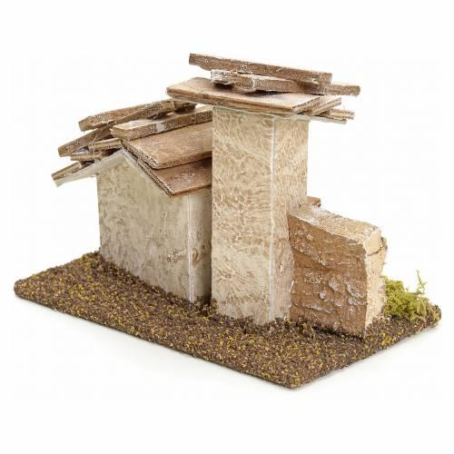Casetta rustica presepe in legno h 11 cm s2