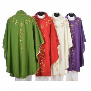 Casula liturgica con ricamo dorato e croce s2