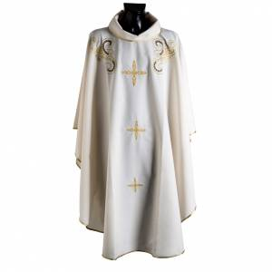 Casula liturgica ricamo dorato croce s1