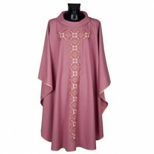 Casula religiosa con stola rosso e rosa s1