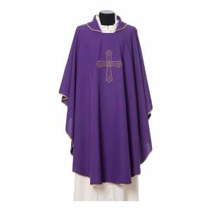 Casula ricamo croce fiore davanti dietro tessuto Vatican 100% poliestere s7