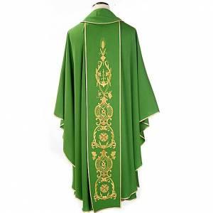 Casula sacerdotale fiori spighe dorate 100% lana s2