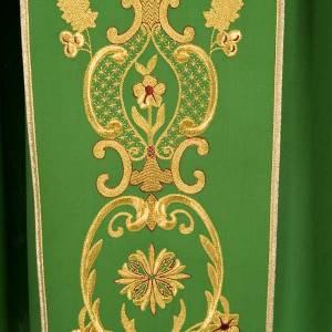 Casula sacerdotale fiori spighe dorate 100% lana s4