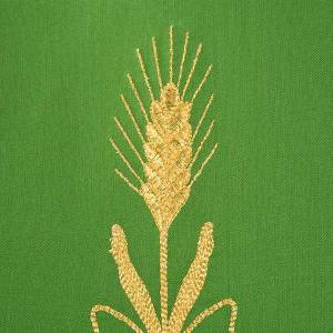 Casula sacerdotale fiori spighe dorate 100% lana s6