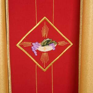 Casula sacerdotale oro stolone rosso ostia spighe uva s5