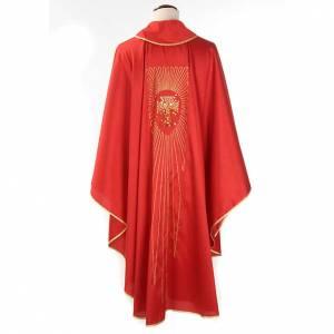 Casulla litúrgica shantung bordado dorado cruz s2