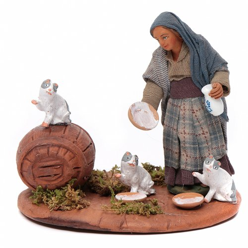 Cat lady, Neapolitan Nativity 10cm s1