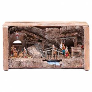 Settings, houses, workshops, wells: cave in wooden box for nativity scene 20x35x15 cm