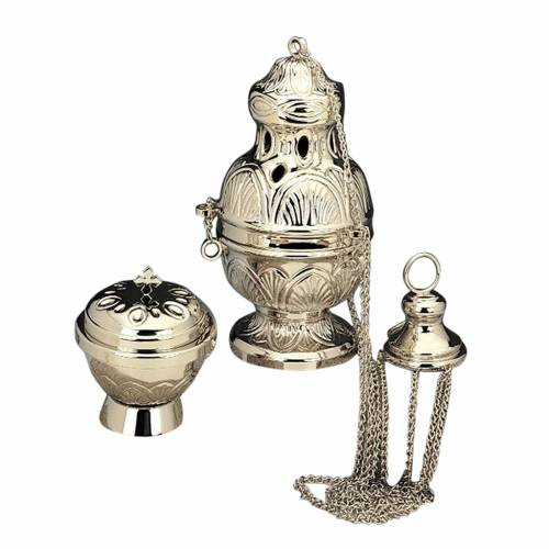 Censer and boat in nickel-plated brass s1