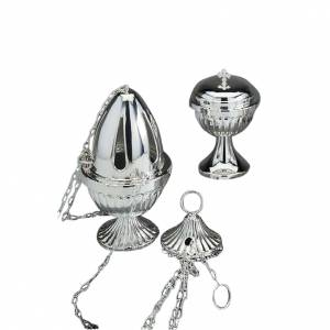 Censer and boat in polished silver plated brass s1