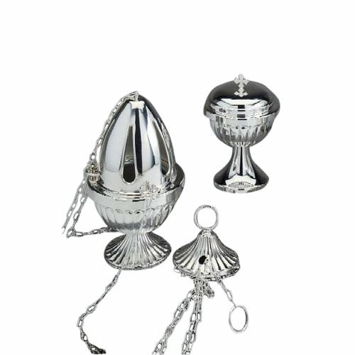 Censer and boat in polished silver plated brass 1