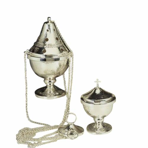 Censer and boat in silver plated hand chiseled s1