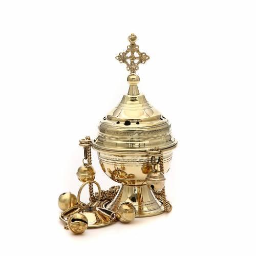 Censer in brass hand-made Bethlehem monks 22cm h s1