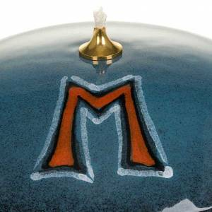Lamp in blue ceramic with  Marian symbol s3