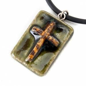 Ceramic pendant, square with cross s3