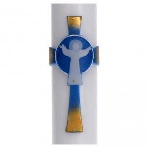 Candele, ceri, ceretti: Cero pasquale cera bianca Croce Risorto azzurro 8x120 cm