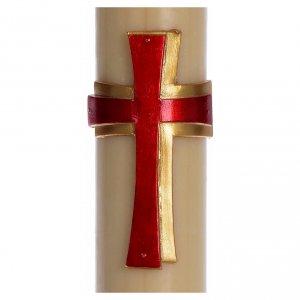Candele, ceri, ceretti: Cero pasquale cera d'api Croce rilievo rossa 8x120 cm