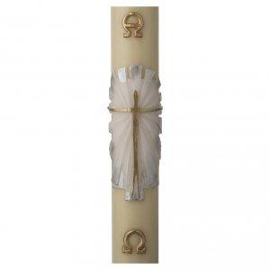 Candele, ceri, ceretti: Cero pasquale cera d'api Risorto fondo bianco argento