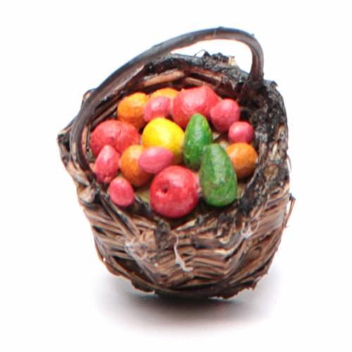 Cesta con fruta con empuñadura belén napolitano 4x13x6 s2