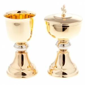 Metal Chalices Ciborium Patens: Chalice and ciborium for travel in gold-plated brass