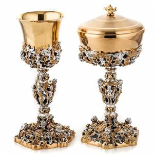 Metal Chalices Ciborium Patens: Chalice and ciborium Putti, gold plated brass