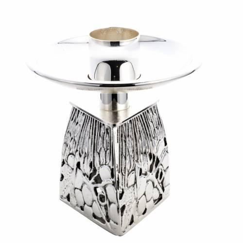 Chandelier d'autel laiton argenté fondu s1