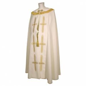 Chapes, Chasubles Romaines, Dalmatiques: Chape en polyester avec 6 croix stylisées