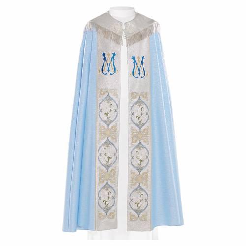 Chape liturgique 80% polyester bleu clair initiales mariales s1