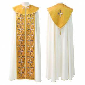 Chapes, Chasubles Romaines, Dalmatiques: Chape liturgique décor jaune, marron, or