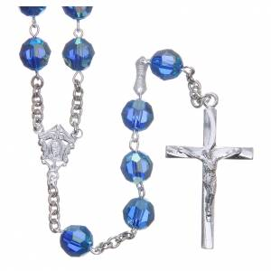 Chapelet argent 800 cristal Swarovski bleu clair 8 mm s1