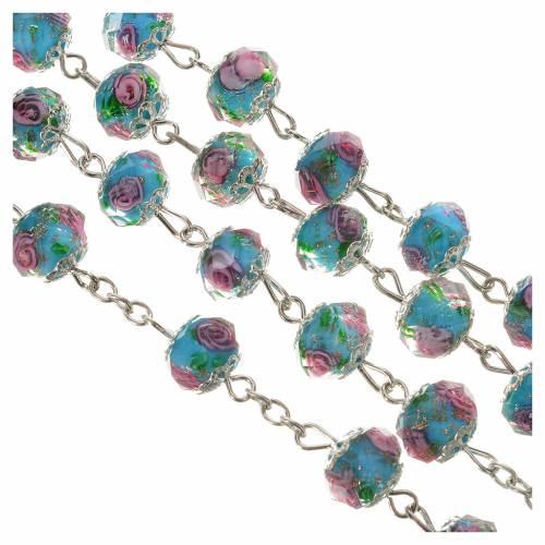 Chapelet cristal bleu ciel avec roses 10 mm s3
